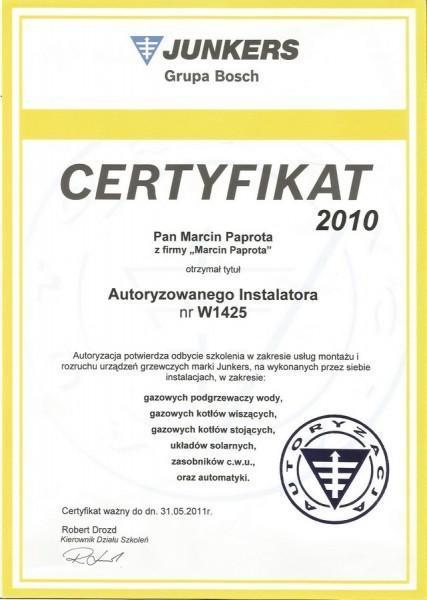certyfikat-2010-Marcin-Paprota-JUNKERS-W1425