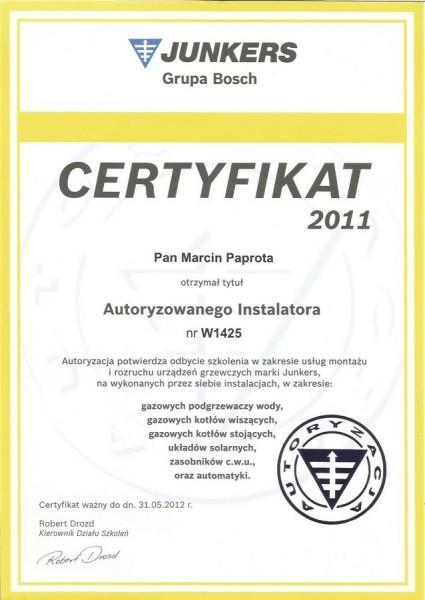 certyfikat-2011-Marcin-Paprota-JUNKERS-W1425