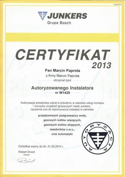 certyfikat-2013-Marcin-Paprota-JUNKERS-W1425