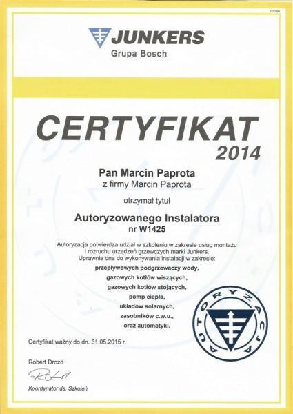 certyfikat-2014-Marcin-Paprota-JUNKERS-W1425