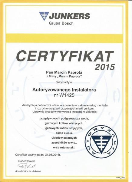 certyfikat-2015-Marcin-Paprota-JUNKERS-W1425