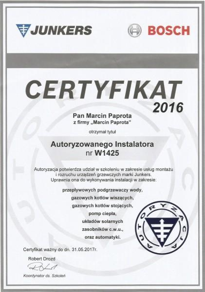 certyfikat-2016-Marcin-Paprota-JUNKERS-W1425