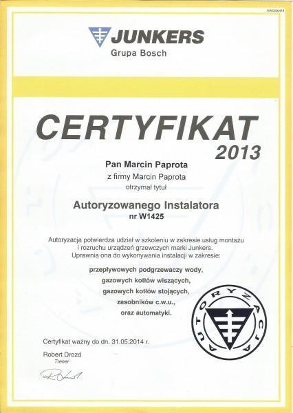 certyfikat-2013-Macin-Paprota